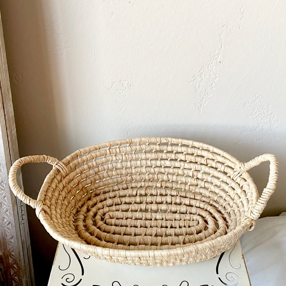 Large vintage woven coil basket with handles
